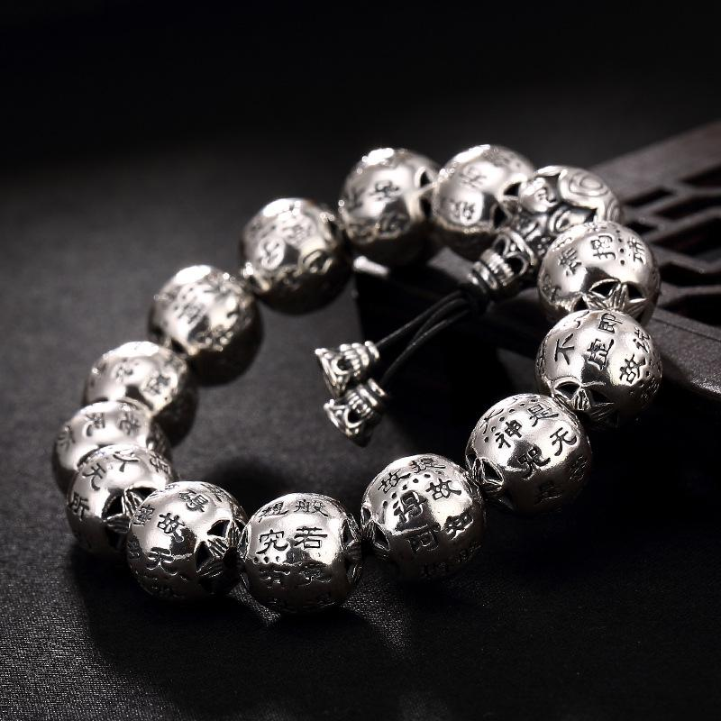 Thai silver restoring ancient ways do old character joker heart sutra  wholesale men's silver bracelet hand string