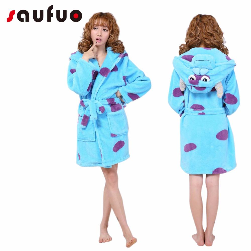 cf6cb3ad4d1a 2019 Flannel Women S Robes Cute Character Long Sleeve Hooded Robe Sexy  Night Robe Bathrobe Winter Dressing Gowns For Women From Blueberry15