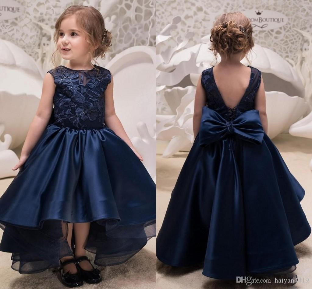 2018 Navy Blue High Low Lace Flower Girls Dresses For Weddings Jewel Neck Backless Appliques Bow Toddler Pageant Gowns Satin Kids Prom Dress