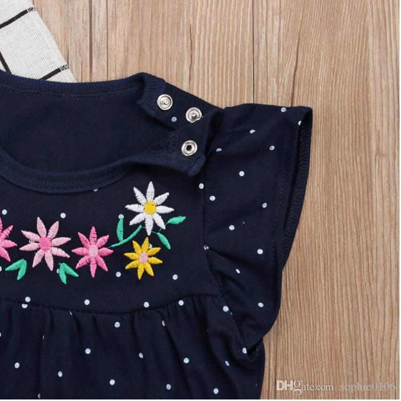 Girl Summer Flower Print Dot Short Sleeve T-shirt and Pants Suits Two Pieces Baby Cotton Short Tops and Trunks Set Baby Clothing CN G026