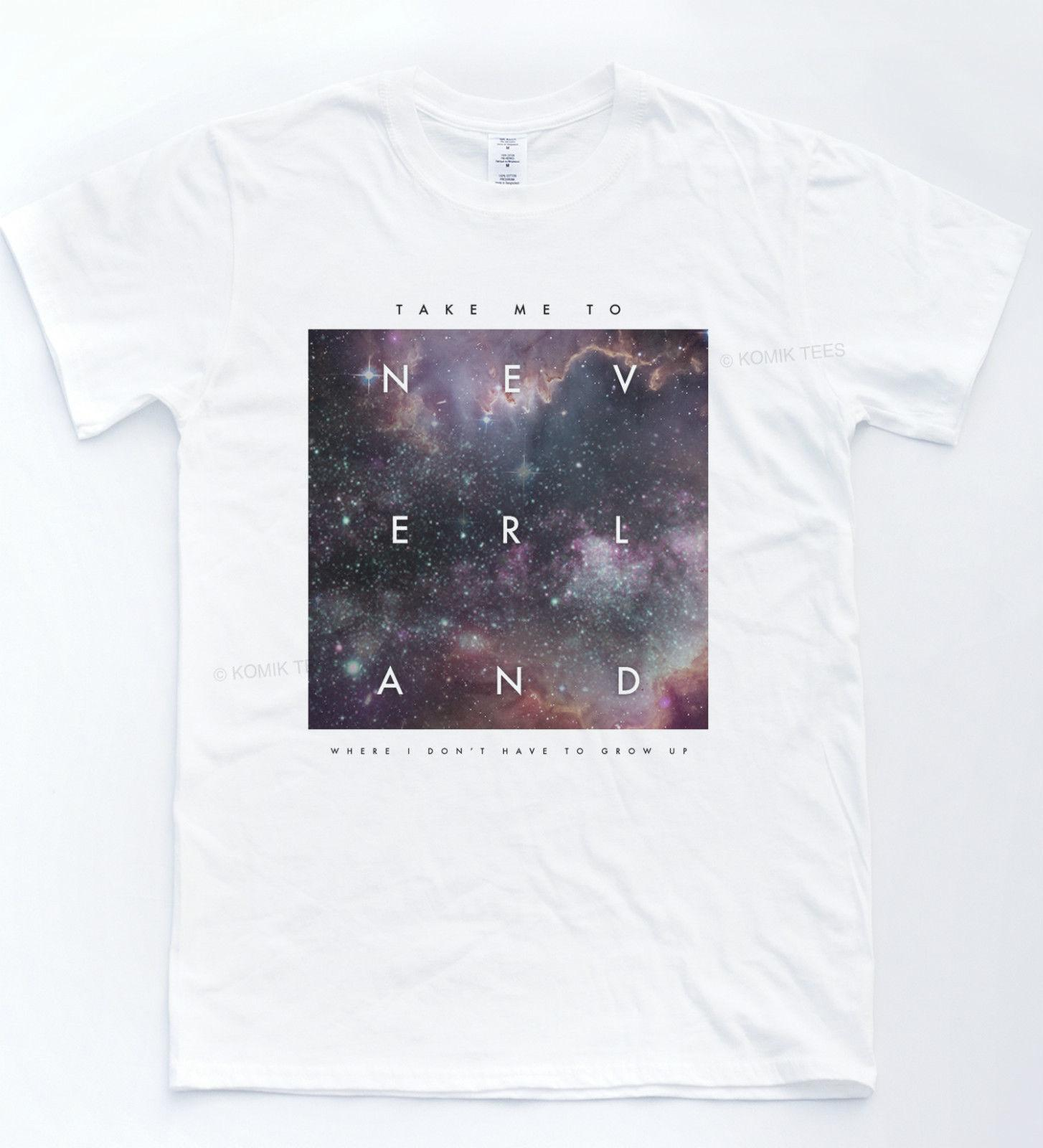 Neverland Galaxy T Shirt Quote Indie Hipster Top Retro Peter Pan