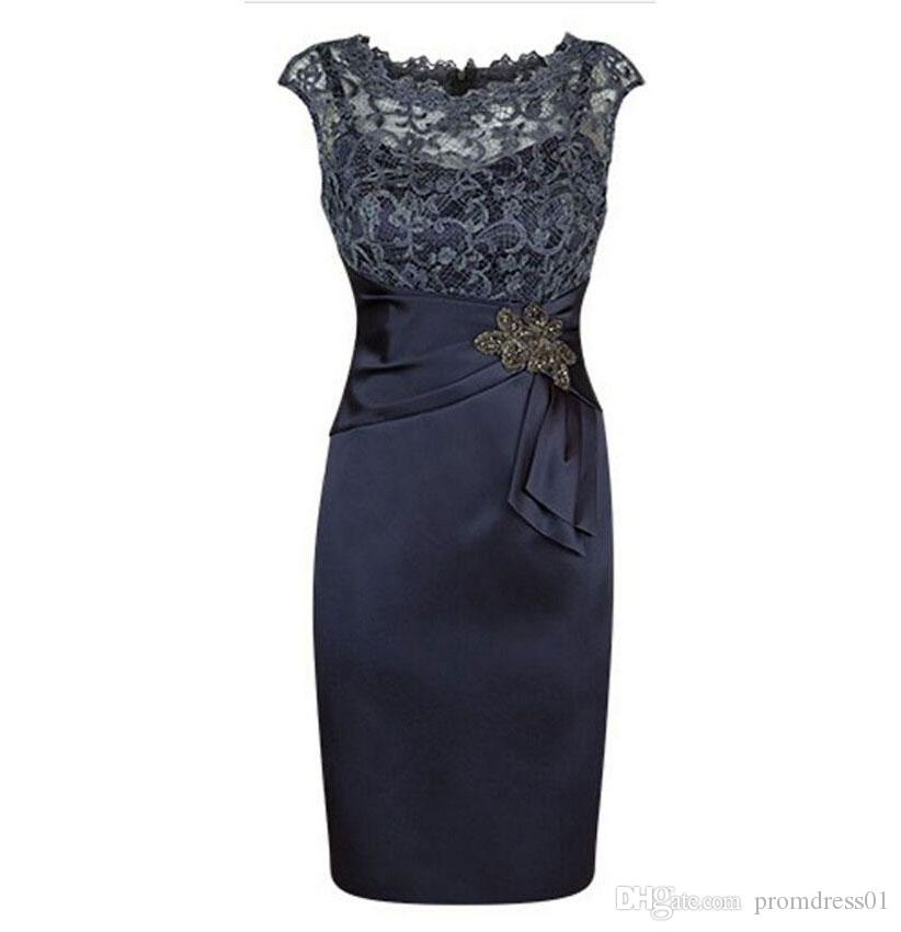 Hot Selling Sleeveless Knee Length Dark Navy Blue Mother of the Bride Dresses with Lace Appliques Mother of the Groom Dresses