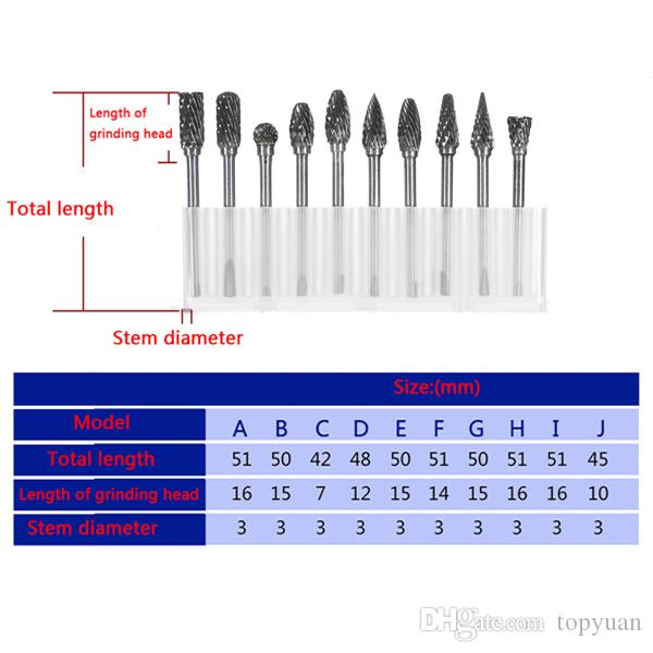 3mm Shank Double Lines Tungsten Steel Carbide Burr Set 6mm Head Rotary Drill Bit