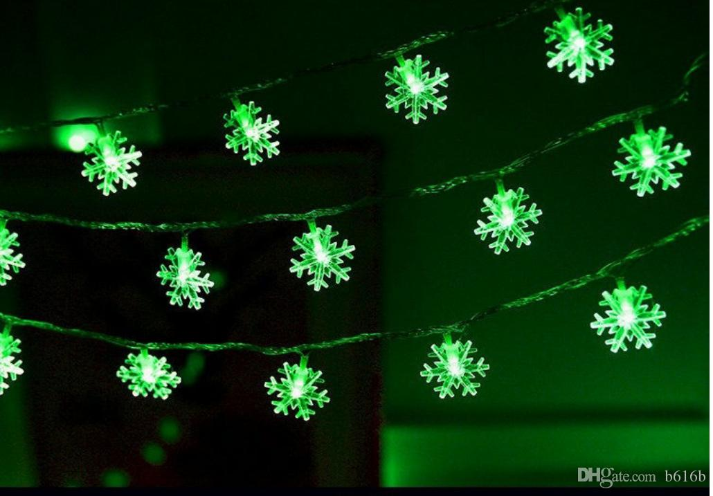 2018 led colored lights snowflake save energy plastic heat repelling waterproof for christmas and other holiday with battery string lights outdoor globe