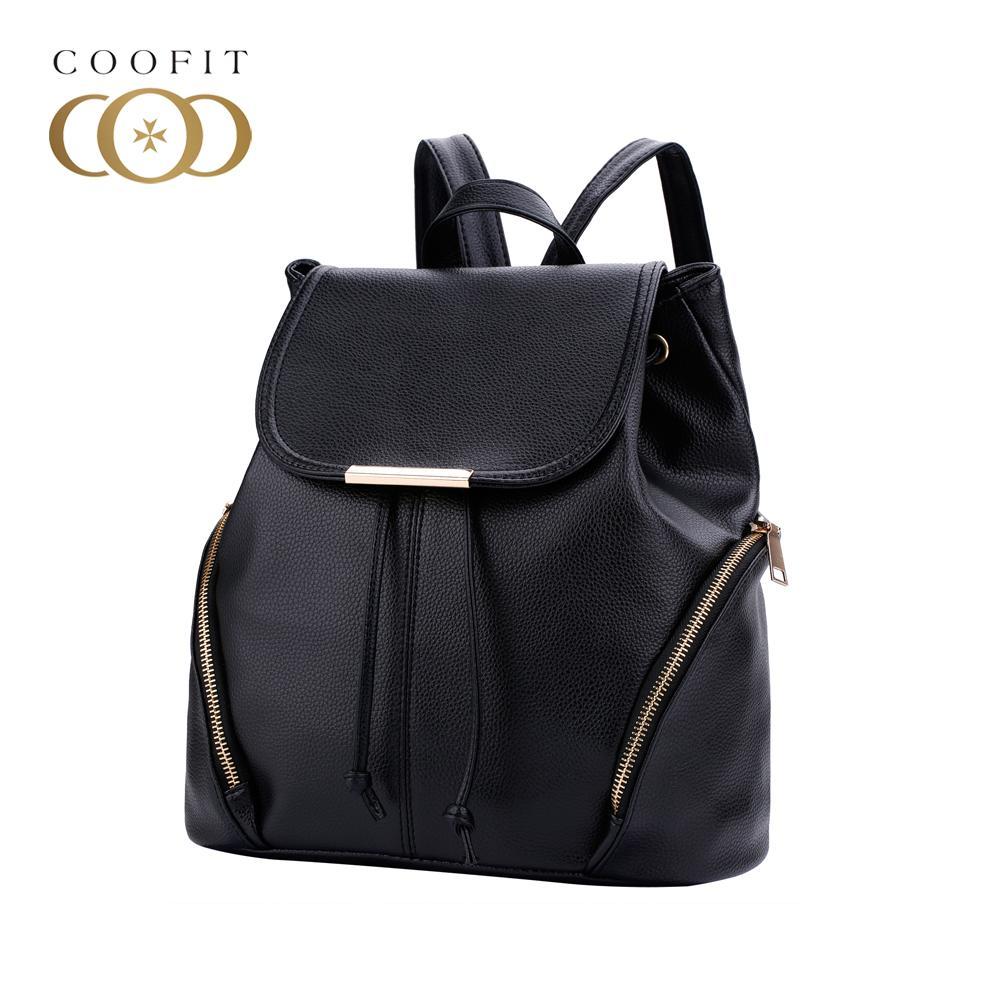 bfa778760c Coofit 2018 New Zipper Design Backpack For Women Girls Leather Bagpack  Satchels Flap Cover Drawstring Schoolbag Travel Rucksack Backpacks for  Women Designer ...