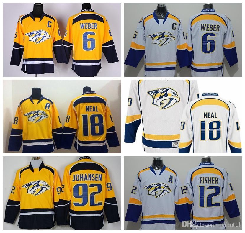 buy popular 39a92 d51d1 2018 Nashville Predators 6 Shea Weber 18 James Neal 12 Mike Fisher 92  Johansen White Yellow Stitched Ice Hockey Jerseys