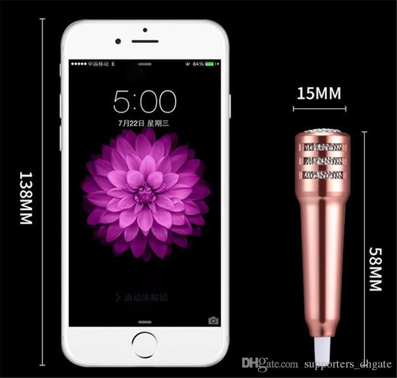 Mini Microfone Condensador fone de ouvido KTV Canções de perfume fone de ouvido k cantando bolso karaoke fone de ouvido Alto-falante Portátil para o telefone celular Acessórios