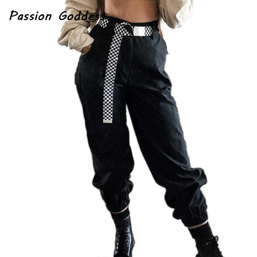 7cc66ed418ded 2019 Cool Women Jogger Baggy Pants Black White Khaki Harem Cargo Pants  Casual Sweatpants Trousers Femme Cotton Loose Pantalon Mujer From Blairi