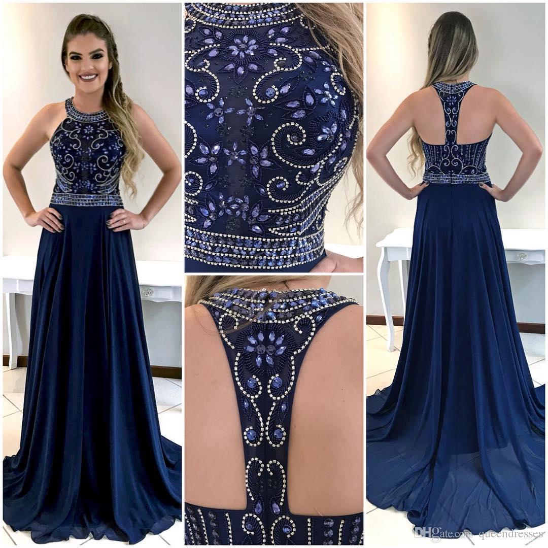 398a051ee Compre Vestidos Largos De Baile Azul Marino Oscuro De Lujo Con Crystal Halter  Vestidos De Noche Gasa Vaina Longitud Del Piso Formal Ocasión Especial ...