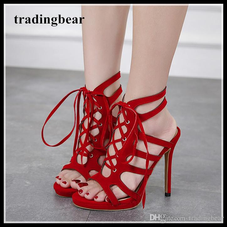 708836941bc3 Women Wedding Shoes High Heels Lace Up With Strappy Red Gladiator Sandals  Party Club Dance Shoes Size 35 To 40 Cheap Shoes Online Fashion Shoes From  ...