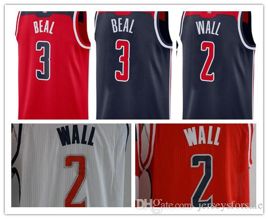 f5030bd6e 2018 2017 2018 New Mens Washington Wizards Jerseys 2 John Wall 3 Bradley  Beal Dark Blue White Red Basketball Jersey From Cajerseysus