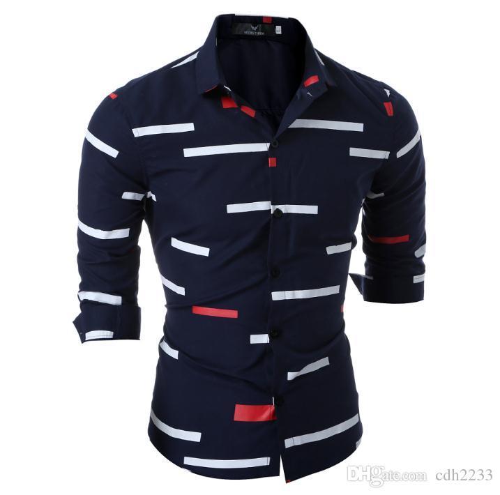 Neues Europa und den Vereinigten Staaten speziell für Männer Langarm-Shirt Männer Slim geometrischen Druck Jugend Freizeit Langarm-Shirt
