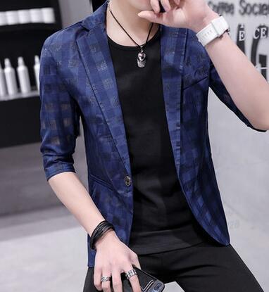 Traje pequeño para hombre de siete puntos trajes de manga korean slim hollow estudiantes traje casual de verano para hombre chaqueta blazer masculino M - 3XL