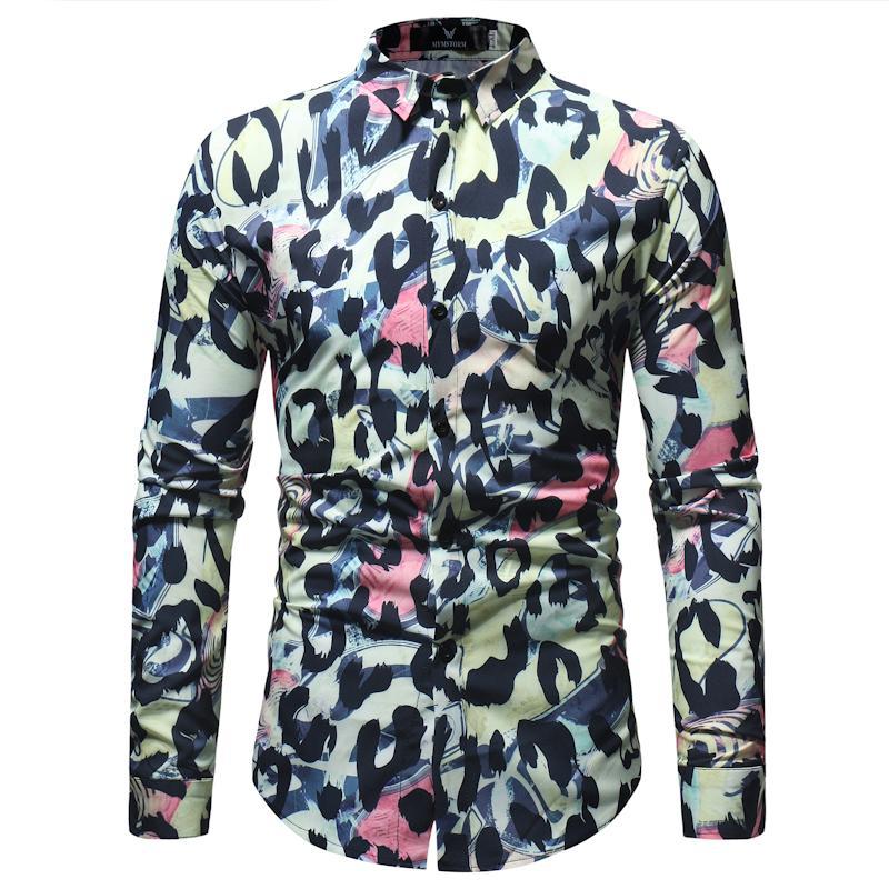 6cc4f794 2019 Leopard Print Slim Fit Long Sleeve Shirt Men 2018 Spring Autumn New Casual  Button Down Dress Shirt For Men Camisas Para Hombre From Sadlyric, ...