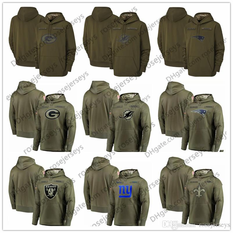 2018 Salute to Service Green Bay Oakland Packers Raiders Miami New Orleans Dolphins Saints York Giants Patriots Hoodie Sweatshirt Pullover