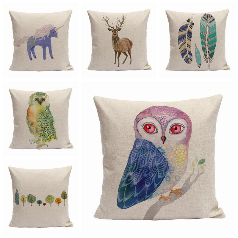 Wholesale Nordic Cartoon Cushion Cover Kids Unicorn Sofa Bed Throw Pillow  Case Owl Cojines Deer Feather Trees Almofada Watercolor Decor Large Garden  ...