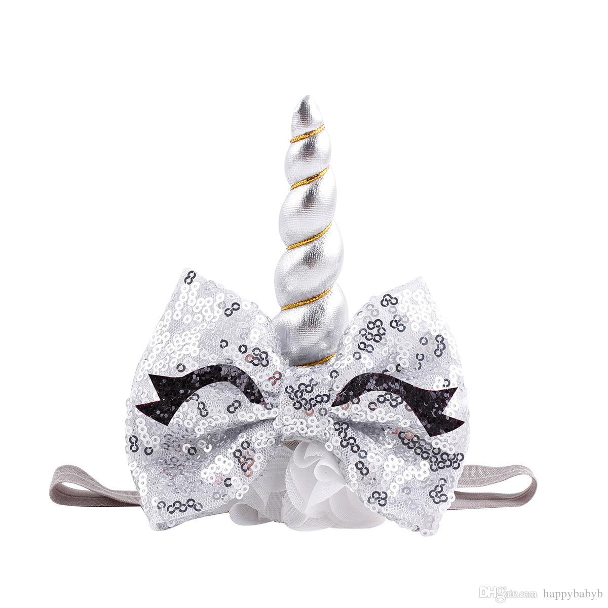 Девочки Unicorn ободки девочек Birthday Party Ресницы шифоновые Hairbands дети принцессы аксессуары для волос с блестками Блестки Большой лук Галстуки