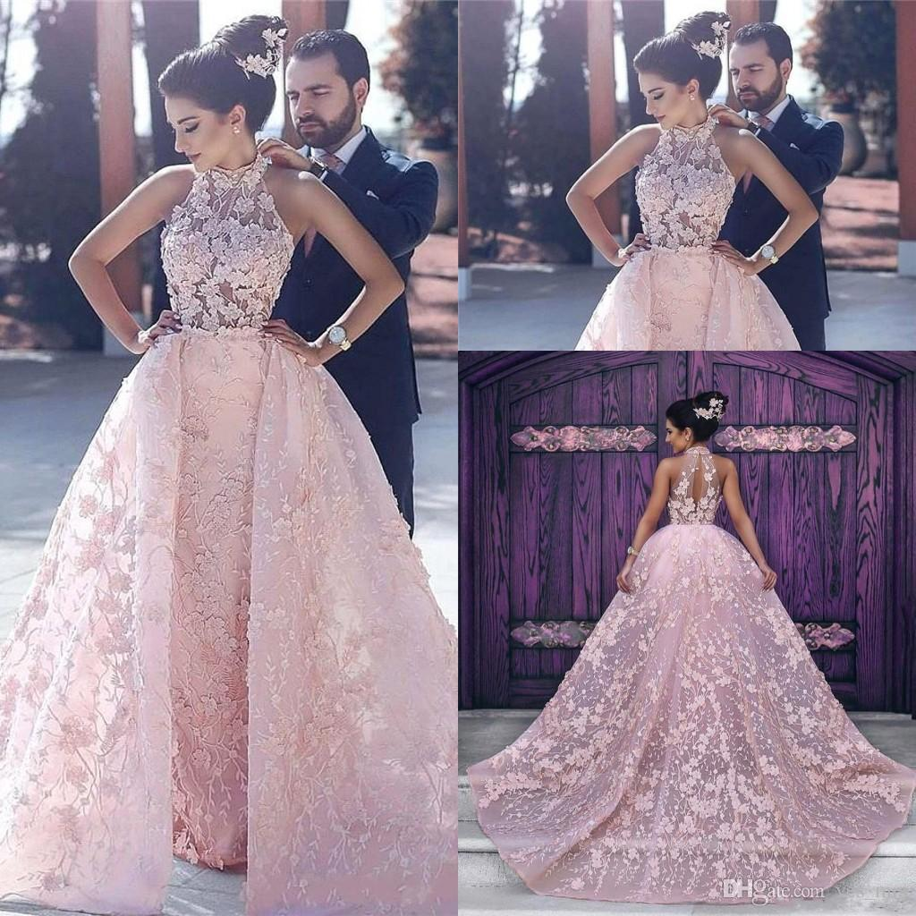 2020 Evening Dresses Wear Arabic Dubai Pink 3D Floral Flowers Ball Gown Over skirts Lace Appliques Plus Size Formal Party Dress Prom Gowns