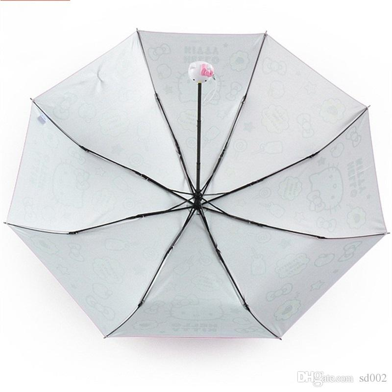Foldable Rain Umbrella Sun Shading Protect Woman Sunscreen Children Kids Girls Ultraviolet Proof Cute Umbrellas Portable Creative 32cb bb