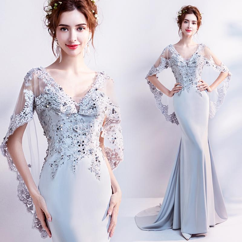 Was Thin On The Mirror Stylish Silver Gray Fishtail Bride Toast Dinner Party Dress Designer Prom Dresses For Teenagers From Fiona Happiness