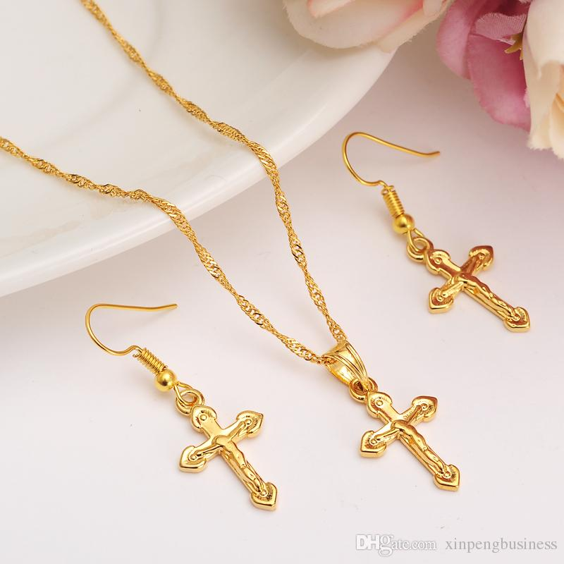 HOT Special Design Christian Vogue True Real 14K Solid Fine Yellow Gold Filled Crucifix Cross Timeless Charm Earrings Pendant Chain Set