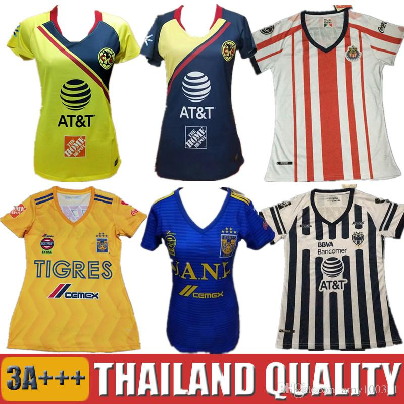 Cheap 18 19 LIGA MX Mexico Club America Women Soccer Jerseys 2018 Chivas  Tigres UNAM O.PERALTA R.SAMBUEZA Monterrey Camiseta Lady Football Shirt ea5972015