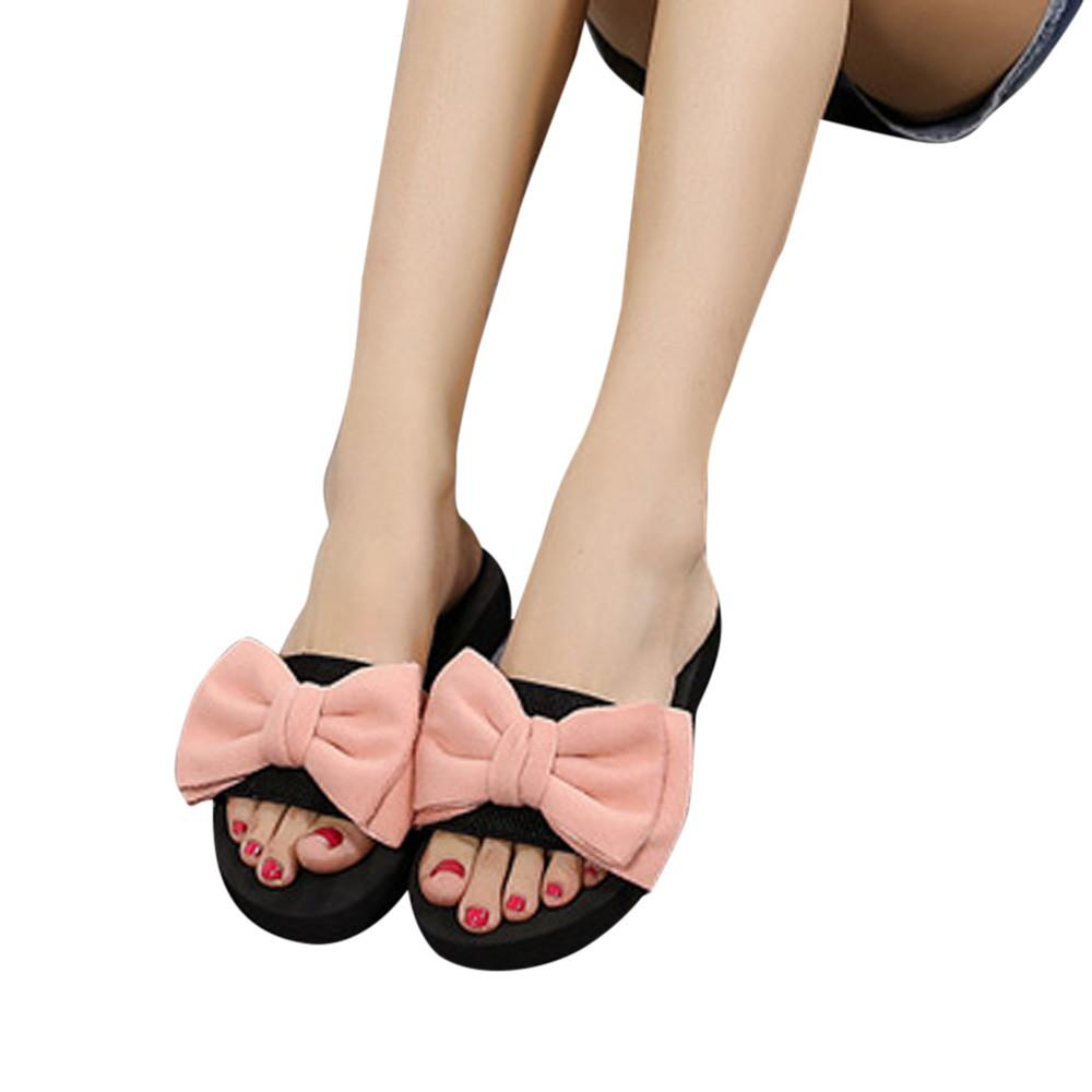 d500727b632c Women Slippers Bow Slides Summer Beach Shoes Woman Indoor Outdoor Slippers  Flat Heels Flip Flops Ladies Bohemia Sandals Bearpaw Boots Silver Shoes  From ...