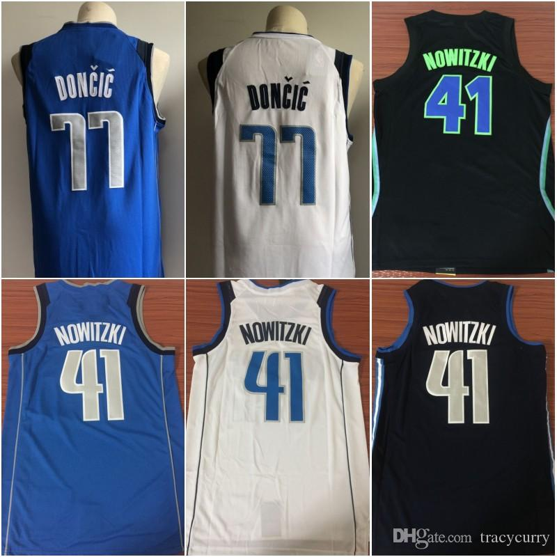 118403d58 Cheap 77 Luka Doncic White Blue Jersey 41 Dirk Nowitzki Dallas The ...