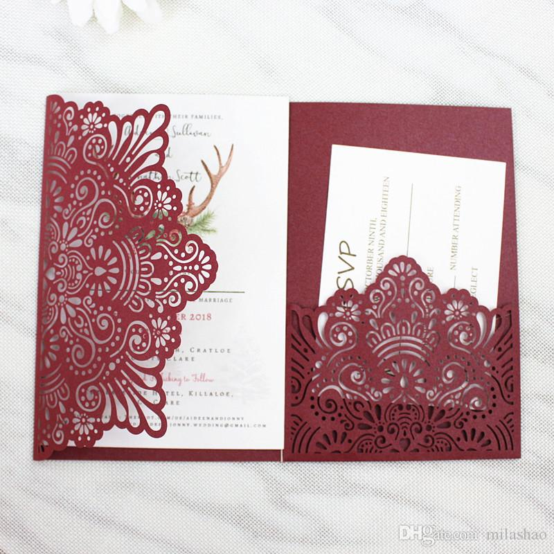fall burgundy wedding invitation with belly band rsvp pocket tri