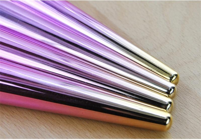 12 Adet Degrade renk Makyaj Fırçalar Seti vakfı pudra makyaj fırça göz farı kaş makyaj fırça Profesyonel Kozmetik Fırça Aracı Kiti