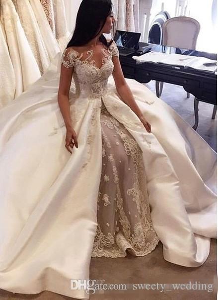 Compre Vestido De Fiesta De Lujo Vestidos De Novia 2017 Arabia Saudita Manga De Encaje Apliques De Satén Overskirt Vestidos De Novia Vestidos De Novia