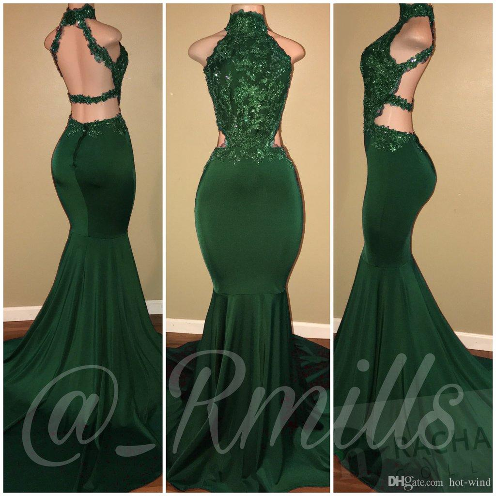 Glamorous 2018 Burgundy High Neck Mermaid Prom Dresses Sexy Sleeveless Lace Appliques Backless Cutaway Sides Long Evening Party Gowns