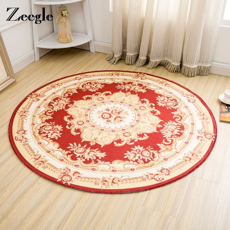 Zeegle Jacquard Round Carpet For Living Room Anti-slip Computer Chair Floor Mat Coffee Table Area Rug Soft Kids Bedroom Carpets