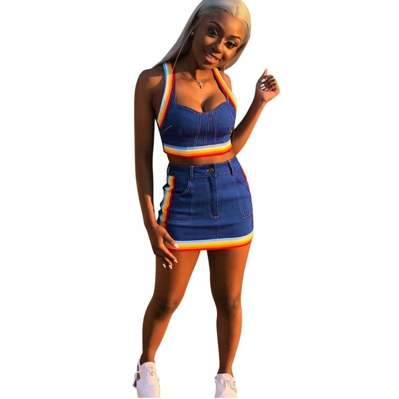 7a88fbe31d55 Two Piece Set 2018 Summer Women Crop Tops And Mini Skirts Sets Blue ...