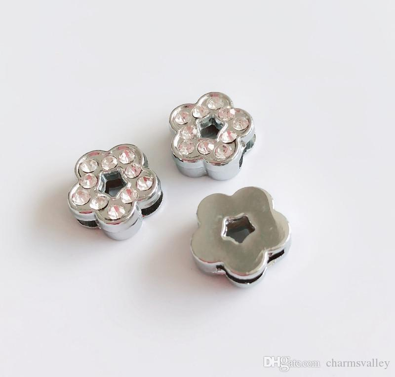 8MM Silver Rhinestone Flower Slide Charms Beads Fit 8mm Pet Collar Belts Tags Keychain Bracelet Wristbands