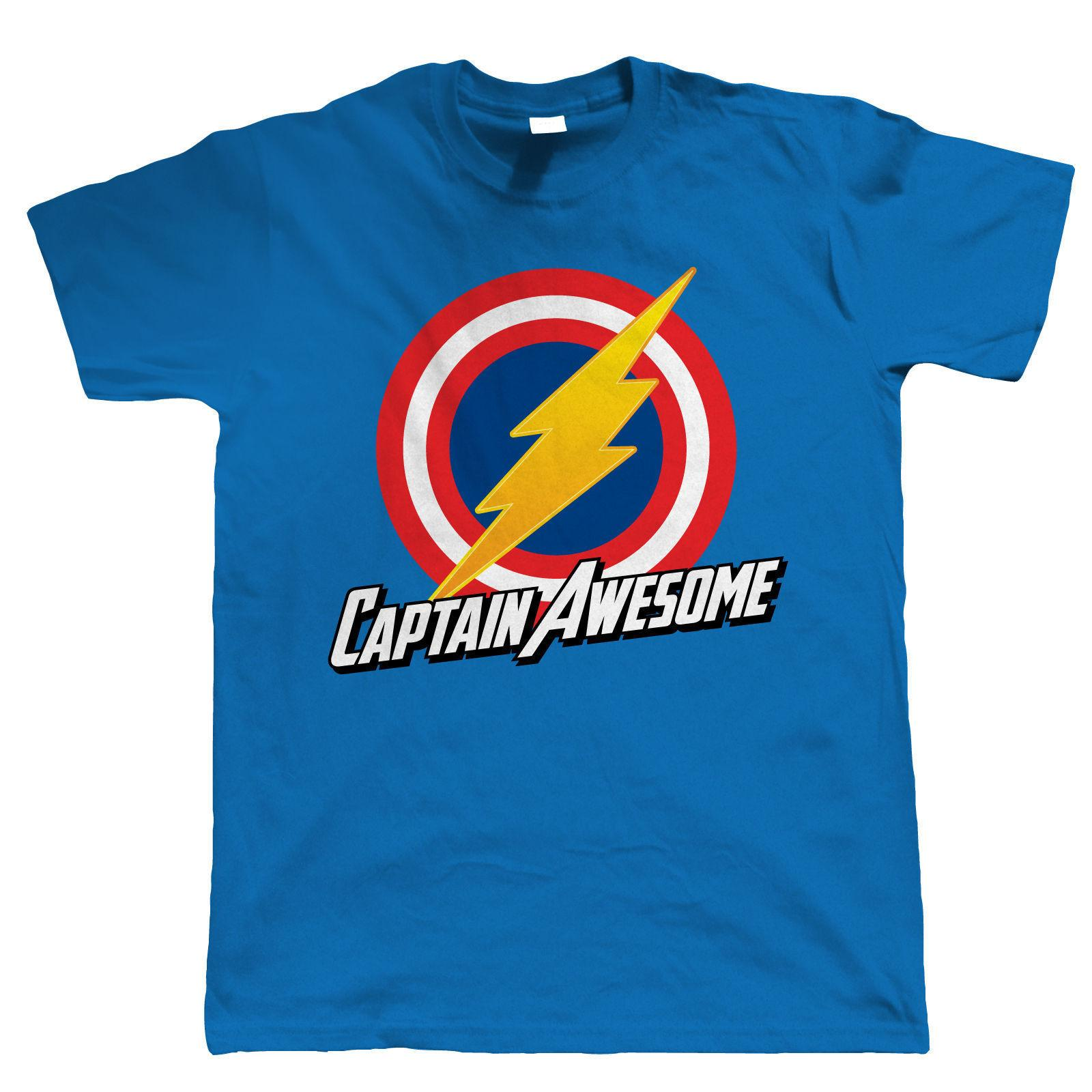 cf364a8f Captain Awesome Mens Funny Super Hero T Shirt Birthday Gift For Dad Him Pre  Cotton T Shirt For Print Tee Shirt Short Sleeve T Shirts In A Day Awesome  Tee ...