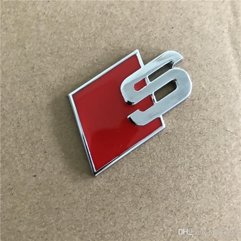 Metal S Logo Sline Emblem Badge Car Sticker Red Black Front Rear Boot Door Side Fit For Audi Quattro VW TT SQ5 S6 S7 A4 Accessories