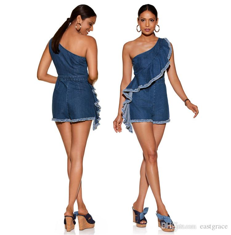 6579ec13e669 Sexy Jumpsuits for Women Fashion One Shoulder Sleeve with Falbala ...