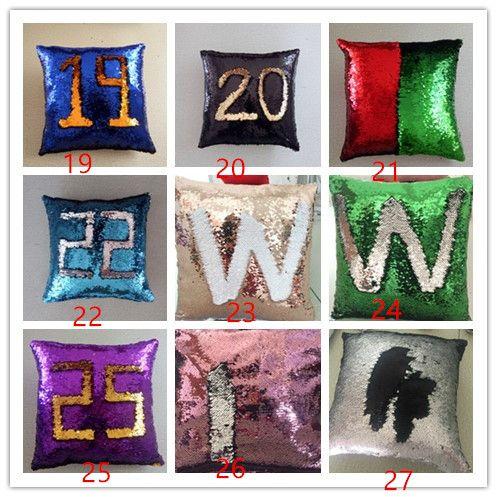 40 * 40 cm Hola Número Reversible Lentejuela Sirena Throw Pillow Cojín Cubierta Decoración Del Hogar Del Coche Sofá Decoración Decorativa Almohada