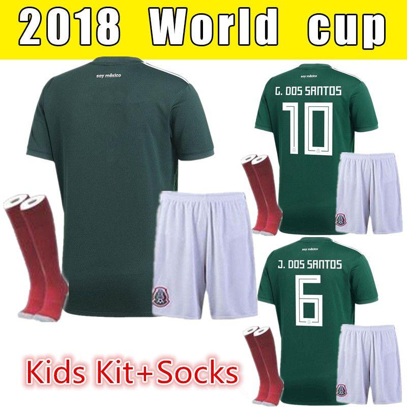 New 2018 Mexico Soccer Jersey Kids Kit +Socks Home 17 18 Green Away ... 58faea7fc