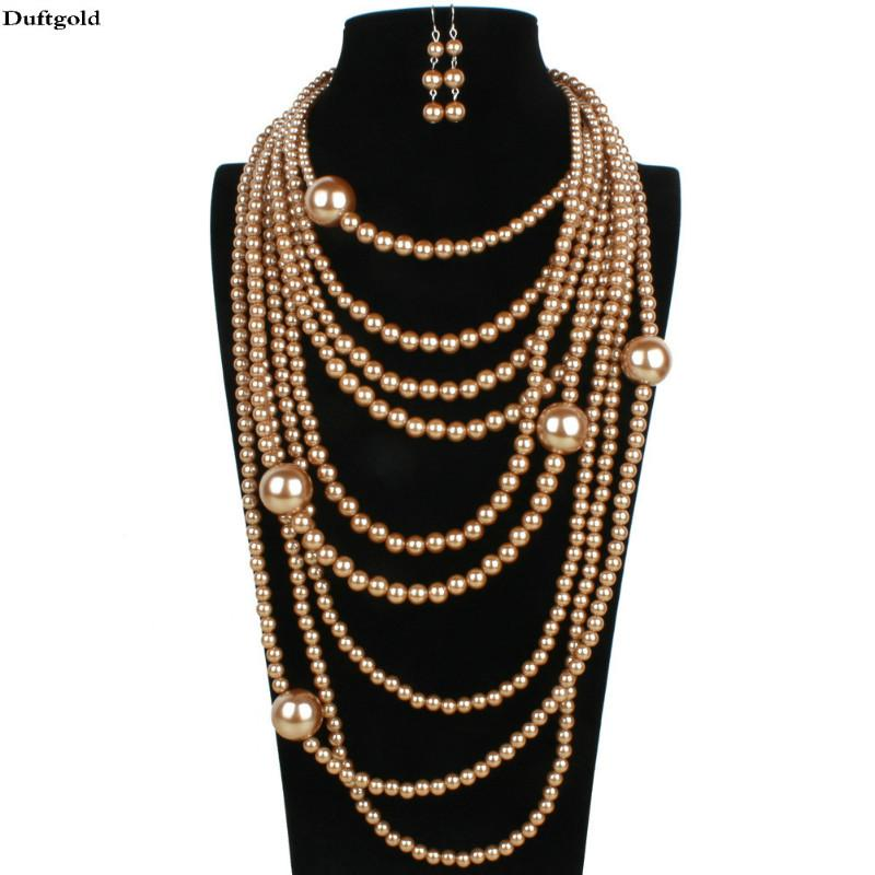 288cba92e 2019 Whole SaleLuxury Big Brands Statement Multi Layer Simulated Pearl  Necklace Earring Jewelry Sets For Women Wedding Jewelry Set Duftgold From  Htiancai, ...