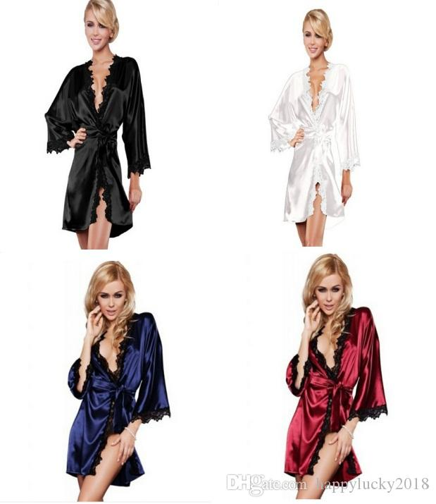 European and American hot girl sexy pajamas satin lace underwear pajamas robes intimate evening dress robes kimono exotic clothing