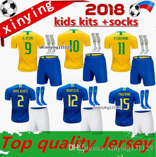 FREE Ship Kids Soccer Jerseys Kits 2018 2019  10 G JESUS P COUTINHO MARCELO  FIRMINO World Cup Jersey Football Shirts UK 2019 From Xinying131129 1a1515ef6
