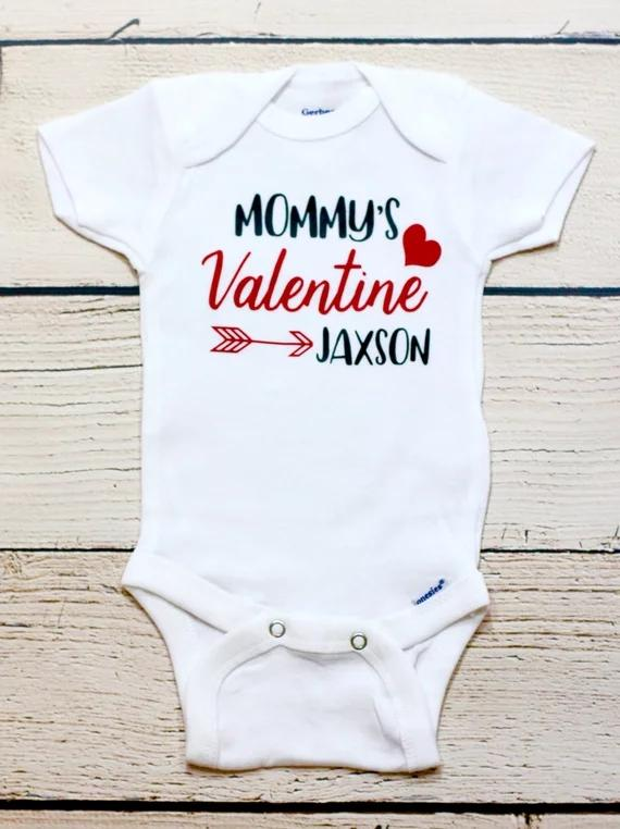 c565d639009 Customize Name Mommy S Valentines Kids T Shirts Birthday Maternity Photo  Shoot Baby Shower Bodysuit Onepiece Romper Outfit Corporate Party Favors  Cowboy ...