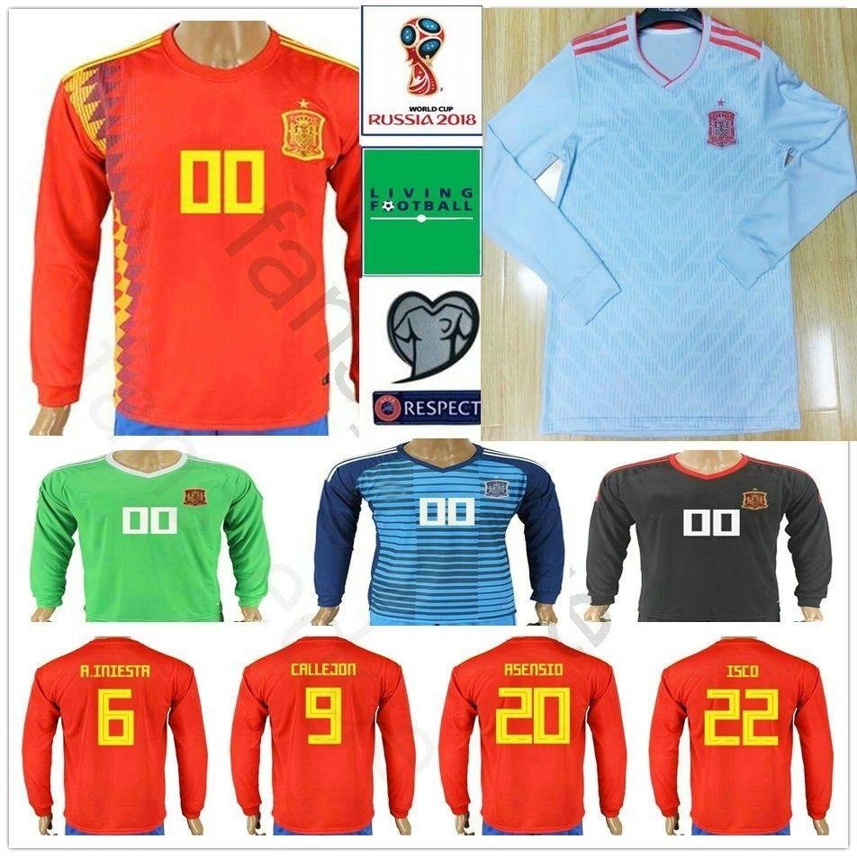 online store e468a f814a 2018 Spain World Cup Long Sleeve Soccer Jerseys 6 A. INIESTA 20 ASENSIO  ISCO SERGIO RAMOS PIQUE Custom Espana Adult Football Shirt