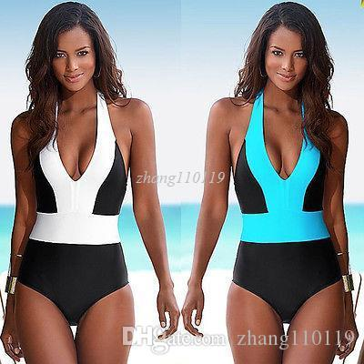 7f5c46e42e 2019 2018 Sexy One Piece Swimsuit Bandage For Women Solid White And Blue One  Shoulder Cut Out Monokini Swimwear Bathing Suit Bodysuit From Zhang110119,  ...