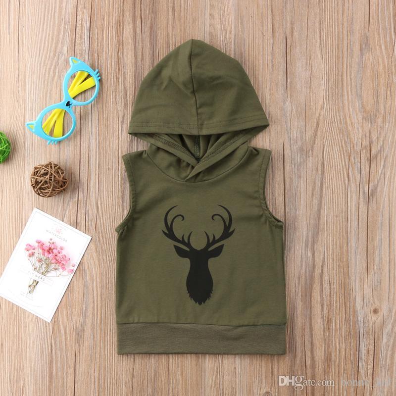 Summer Baby Boys Girls Clothes Tops Kids Hoodies Clothing Reindeer Toddler Children Sleeveless Hooded Sweatshirt Sports T-shirt Age 0-5Y
