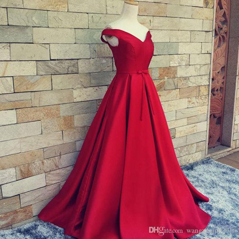 Red Off Shoulder Satin Quinceanera Dresses Long Ball Gown Prom Party Dress Formal Sweet 15 16 Dress