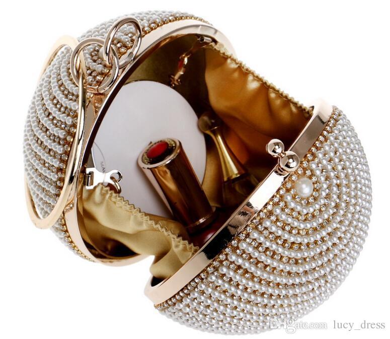 La última variedad de colores, bolso de cena redondo, europeo y americano, para mujer Bolso de perlas bañado en oro plateado