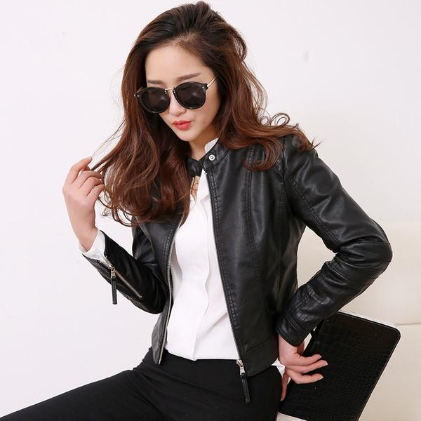 Mode Acheter Zipper Zipper Casual Femmes Longue Veste Moto Moto Moto Coréenne De fwwq7d
